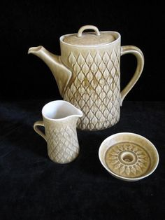 Vintage mid century Danish modern Nissen Kronjyden Relief pattern, Coffee pot, cream jug and candle holder. Designed by Jens H. Quistgaard.