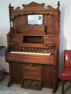 Antique Solid Walnut Pump Pedal Organ by Estey Organ Co Vermont Vintage