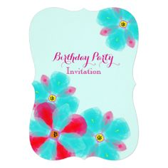 Such a pretty party invitation with water color whimsy flower illustrations in pink and blue. Suitable for any age group and any occasion be it a birthday, baby shower, anniversary, engagement or wedding just customize the wording to to suit your event or occasion.