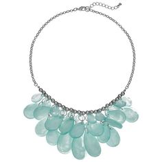 Green Beaded Teardrop Bib Necklace (€16) ❤ liked on Polyvore featuring jewelry, necklaces, med green, green teardrop necklace, beaded chain necklace, green jewelry, tear drop necklace and green necklace