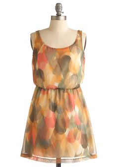 Lovely at First Sight Dress - Multi, Print, A-line, Tank top (2 thick straps), Party, Mini, Spring, Summer, Fall, Short, Orange, Yellow, Grey