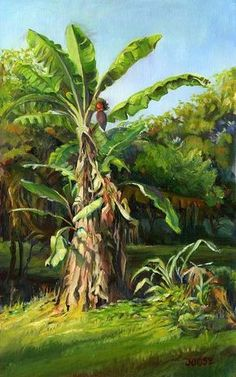 Morning Banana Art Print by Joose Hadley Art Painting Gallery, Painting Art, Fantasy Landscape, Landscape Art, Watercolor Paintings Nature, Filipino Art, Banana Art, Art Village, Tropical Art