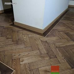 There are a variety of different fitting designs for parquet wood flooring but the most popular by far is the Herringbone design. Here we have fitted an aged parquet floor with a slightly darker border. Best Flooring, Parquet Flooring, Flooring Options, Concrete Floors, Hardwood Floors, Man Cave Flooring Ideas, Wood Floor Design, Transition Flooring, Herringbone Wood Floor