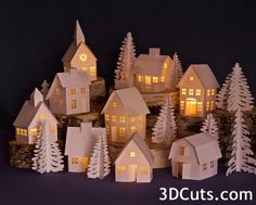 Tea Light Village, 3DCuts.com, Marji Roy, 3D cutting files in .svg, .dxf, and .pdf formats for use with Silhouette and Cricut cutting machines, paper crafting files, Church Tutorial