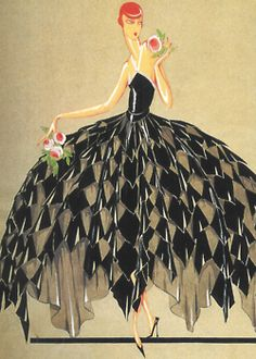 Black and white gown designed by Jeanne Lanvin for theatre director Jane Renouante, 1926