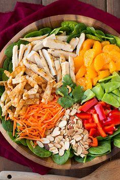 Mandarin Orange Salad (with Chicken!) - Cooking Classy Mandarine Orange Spinach Salad with Chicken and Lemon Honey Ginger Dressing Spinach Salad With Chicken, Spinach Salad Recipes, Chicken Salad Recipes, Diet Recipes, Cooking Recipes, Healthy Recipes, Cooking Tips, Healthy Salads, Healthy Eating
