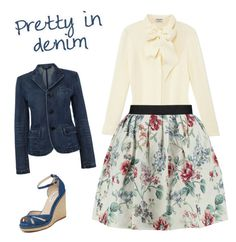 """""""Denim and floral"""" by caitlin-ross-1 on Polyvore featuring L.K.Bennett, Frame Denim, Raoul and Polo Ralph Lauren"""