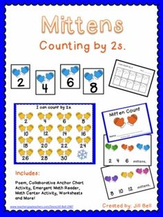Counting by 2s activities - math emergent reader, centre activity, worksheets and more!  All with a cute mitten theme.  $
