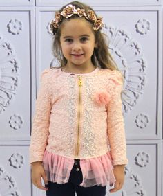 With lovely, floral lace and a dainty tulle peplum, this twirl-worthy jacket sweetens any darling's look. Thanks to the convenient zipper front, it promises effortless outerwear that's easy to love.