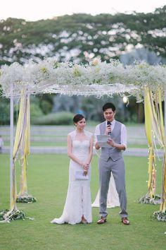 Baby's breath wedding arch   A Garden Wedding at Hort Park: Aston and Celest