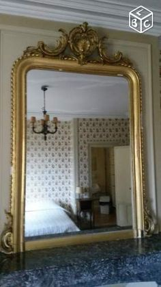 174x86 grand miroir ancien louis philippe dore a la feuille ebay miroirs lustre brocante. Black Bedroom Furniture Sets. Home Design Ideas