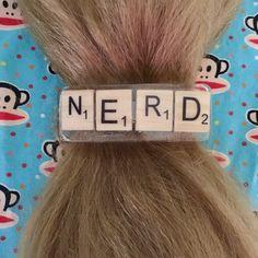 NERD barrette, Scrabble tiles hair clip, long hair ponytail holder