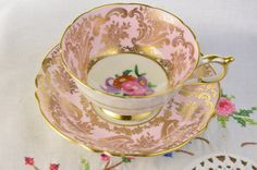 Pink Paragon tea cup and saucer hand painted by VieuxCharmes- purty in pink!