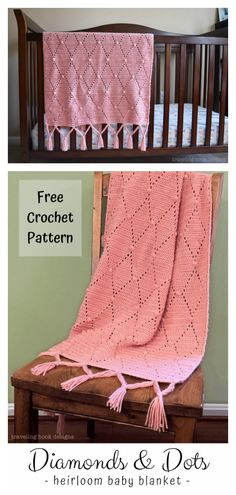 Diamonds and Dots Heirloom Baby Blanket Free Crochet Pattern The blanket is very delicate and cozy. The adorable Diamond Blanket Free Crochet Pattern uses diamond stitch with the written instructions and a very helpful video tutorial. Afghan Crochet Patterns, Knitting Patterns Free, Crochet Afghans, Free Knitting, Free Pattern, Crochet Gratis, Free Crochet, Baby Blanket Crochet, Crochet Baby
