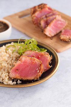 Seared Ahi Tuna Steaks have a beautiful Asian marinade. Sweet and a little spicy. Ahi Tuna Steak Recipe, Tuna Steak Recipes, Tuna Steaks, Seafood Dishes, Seafood Recipes, Cooking Recipes, Healthy Recipes, Fish Dishes, Yummy Recipes