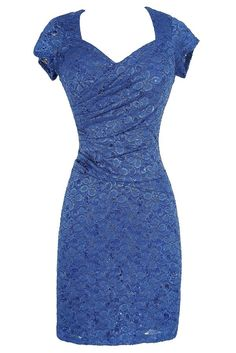 Gathered Sequin and Lace Capsleeve Pencil Dress in Royal Blue  www.lilyboutique.com