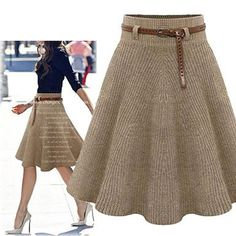 Khaki A Line Knitted Skirt