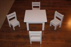 """Claras Table and $4 stackable chairs sized for 18"""" Dolls.   Do It Yourself Home Projects from Ana White"""