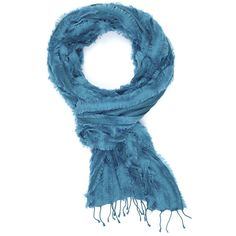 Arctic Fringe Ocean Indigo Handloom ❤ liked on Polyvore featuring scarves, fringed shawls and fringe scarves