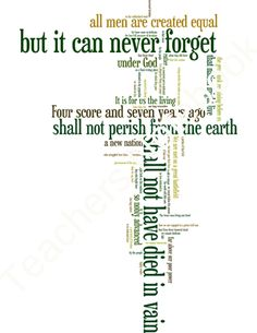 Gettysburg Address - Word Art Poster Prints product from CreatedForLearning on TeachersNotebook.com