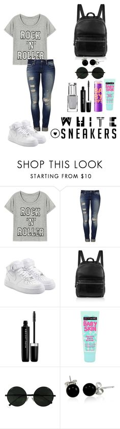 """""""White Sneakers Contest"""" by ashley-carters ❤ liked on Polyvore featuring Mavi, NIKE, Elizabeth and James, Marc Jacobs, Maybelline and Bling Jewelry"""