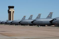 U.S. Air Force KC-135R    Lineup of Altus based KC-135s infront of the tower.