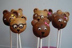 bear pops. Freakin cute! Look at the bears little glasses! lol