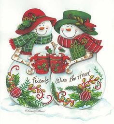 Adorable snowman couple