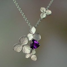 Hydrangea Jewelry | hydrangea and amethyst necklace | Jewelry | Pinterest