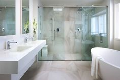 contemporary bathroom with glass shower and freestanding tub