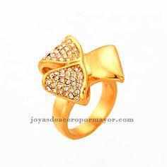 Anillo dorado con cristales para jovenes venta online