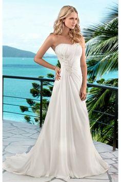 A-Linie Chiffon Hof-Schleppe elegantes trägerloses Brautkleid