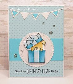 Card critters Bear birthday MFT beary special birthday  Die-namics #mftstamps MFT party banner MFT mini scaloped stitched circle