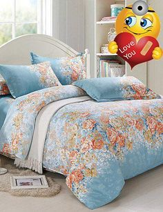 #stylish Type:Duvet Cover Sets, Bed Size:Double, Sizes:King,Queen, Patterns:Floral, Material:Faux Silk,Cotton, Backing Material:Cotton,  #Color:Blue, Weave Type:S...