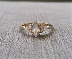 Antique Engagement Ring Victorian White Sapphire Marquise