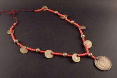 Old Guatemala Chachal with red glass beads and by ethnicadornment