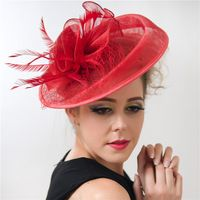 31ca779652cb4 Ladies Large Feather Wedding Hats Red Bridal Sinamay Fascinator Elegant  Cocktail Hats Net and Veil Design