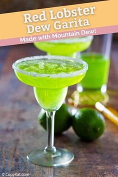 Red Lobster Dew Garita is a fruity cocktail with lime, orange, and melon flavors. Get the easy copycat recipe to make the best Mountain Dew Margarita. Fill a shaker with tequila, triple sec, Midori melon liqueur, fresh lime juice then shake and pour into a sugar rimmed glass. Add Mountain Dew, stir, and enjoy this tasty drink. #cocktailrecipes #margarita #mountaindew #copycat #copycatrecipes