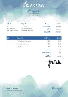 Invoice Template Us Watercolor Blue Receipt Template, Invoice Template, Templates, Credit Note, Invoice Sent, Credit Card Readers, Cleaning Business, Marketing Tools, Event Venues