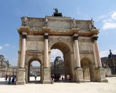 Here you can see the three main arches of the Arc de Triomphe du Carrousel which allows you to see the Louvre Museum in the background, showing just how close the tourist attractions are to each other.  See more www.eutouring.com