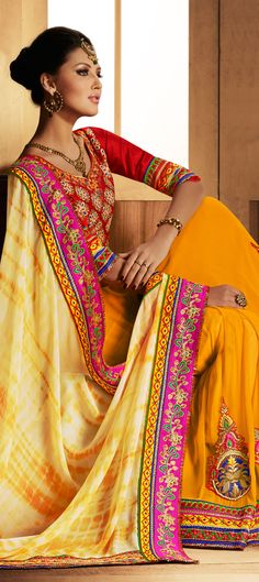 150227: Yellow color family Saree with matching unstitched blouse.