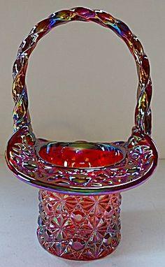 Fenton Amberina Carnival Daisy & Button Top Hat Basket Cut Glass, Glass Art, Fenton Glassware, Brides Basket, Glass Company, Carnival Glass, Vintage Flowers, Handmade Art, Colored Glass