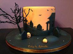 Halloween silhouette Cake by CakesbyAphrodite