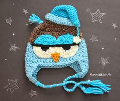 Drowsy owl #crochet hat pattern free from @repeatcrafterme