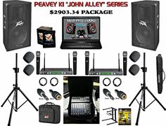 Peavey PV 15 inch powered speaker karaoke computer system.  EASILY plug up TWO MORE PASSIVE speakers to this system and it will power them with no problems!  FOUR 100 channel clear scan UHF wireless microphones, karaoke computer, alto live sound mixer, custom hydraulic speaker stands that EASILY hoist speakers by themselves! Passive Speaker, Karaoke System, Powered Speakers, Speaker Stands, Non Profit, Mixer, Plugs, Channel, Pa Speakers