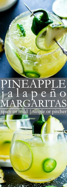 Pineapple - Jalapeño Margaritas | Easy to make in a single or pitcher! Jalapeño Margaritas // Spicy Margarita // Spicy Pineapple Margarita
