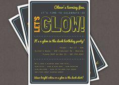 Glow in the Dark Theme Birthday Party Invitation Custom Printable - Glow Party - Black Light - Boy or Girl - Dark Invite - Custom Colors Glow In Dark Party, Glow Party, Disco Party, 13th Birthday Parties, Birthday Fun, Birthday Party Themes, Birthday Ideas, 14th Birthday, Glow Stick Jars