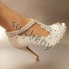 """3"""" 4"""" heel silk white ivory lace open toe pearls anklet Wedding shoes size 5-9.5"""