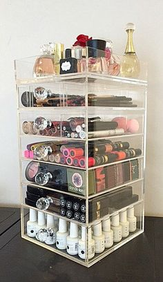 Clear Acrylic Makeup Organizer 7 Tier Round Crystal Knob by MakeupOrganizer on Etsy https://www.etsy.com/listing/209226390/clear-acrylic-makeup-organizer-7-tier