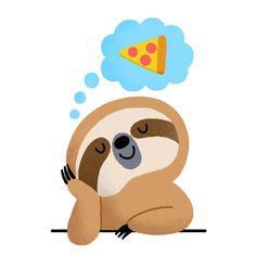 Mondays. #sloth #pizza #lazy @ello @elloillustrations @elloart Yoshi, Mario